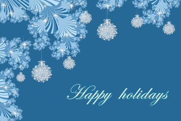 Merry Christmas and Happy New year with fractal embellishment, winter card concept