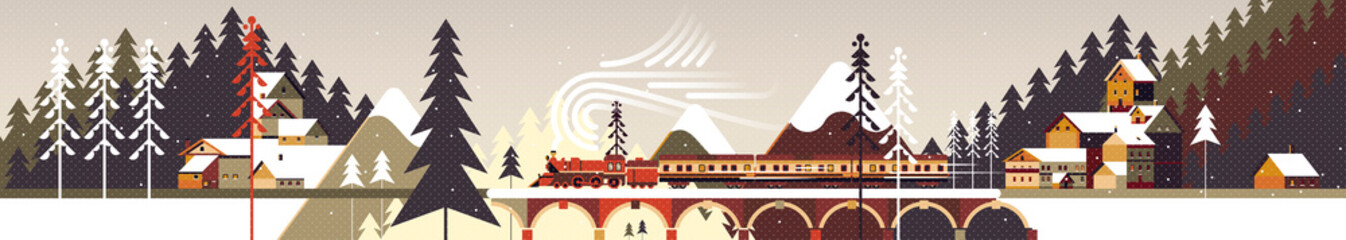 Printed kitchen splashbacks Beige New year and Christmas mountain snowy winter landscape with coniferous forest, pines, cottages and train. Flat vector illustration for web, poster, banner, card, postcard, event icon logo or badge.