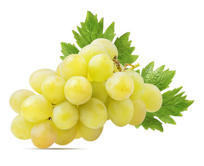 Fresh grapes isolated on white background with clipping pass