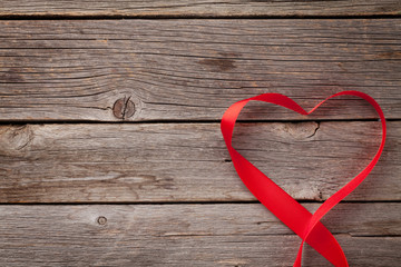 Valentines day greeting card. Heart shaped ribbon