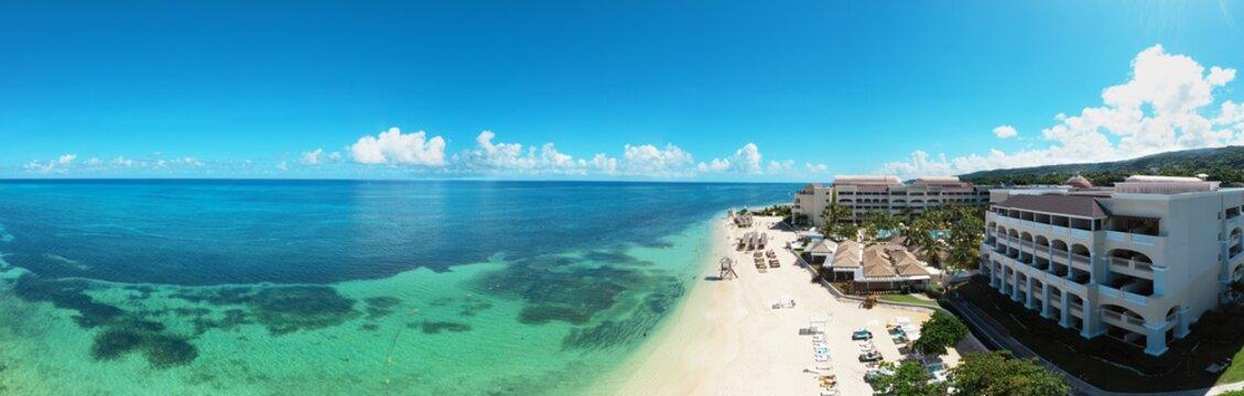 Panoramic aerial view of the wonderful caribbean beach resort on Jamaica, Montego Bay, Rose Hall Suites, Grand Rose Hall Suites, Iberostar