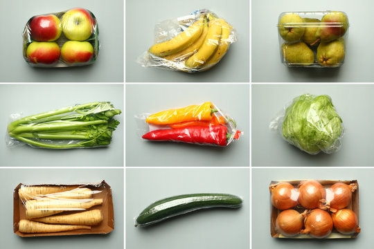 A combination of illustrations shows apples, bananas, pears, celery, peppers, a head of lettuce, parsnips, a cucumber and onions, wrapped in plastic as bought in a supermarket