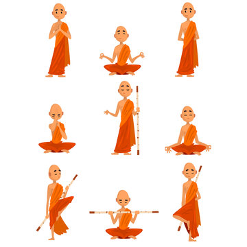 Buddhist monks cartoon characters in different poses set, monk in orange robe, praying, meditating, practicing yoga vector Illustration on a white background