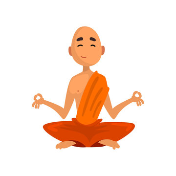 Buddhist monk cartoon character sitting in meditation in orange robe vector Illustration on a white background