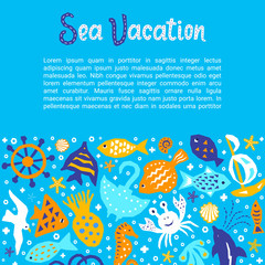 Cutout marine style kids design element paper flyer card with Sea Vacation lettering title. Vector funny cartoon doodle background of fish, gull, shell, crab, starfish, guitarfish