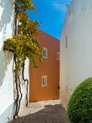 """Schmale Gasse mit Treppen am Berg im Dorf """"Alte"""" an der Algarve in Protugal"""