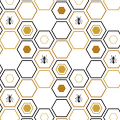 Hexagon vector pattern honeycomb black white and gold with a bee