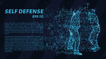 Self-defense of blue glowing dots. Assault on a man with a knife.
