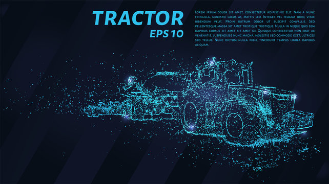 Tractor of blue glowing dots. Tractor with seeder vector illustration.