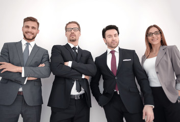 Trade Team standing together against a white background