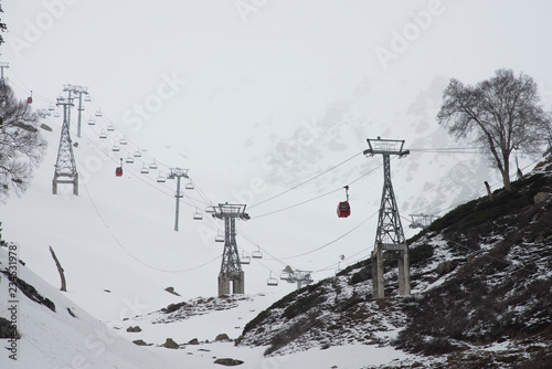Gandola cable car in Gulmarg Kashmir India during the winter