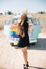 Happy lesbian women in the old van