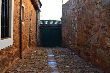 Door Of A Maragata House Dating In The XVI Century. Castrillo De Los Polvazares. Architecture, History, Camino De Santiago, Travel, Street Photography. November 2, 2018. Castrillo De Polvazares,Spain.