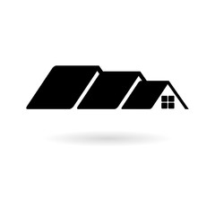 Black Home roof icon, House Roof Icon Logo