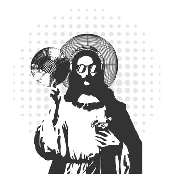 jesus disk jockey with music plate and glass
