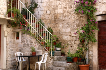 Colorful plants on stone staircase in old town Trogir, Croatia. Trogir is popular travel destination in Croatia.