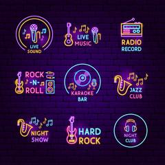 Music Neon Label Set