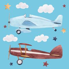 Fototapete - Watercolor aircraft illustration