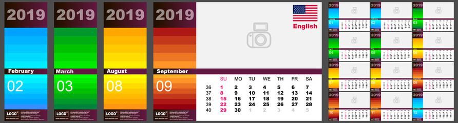 Wall calendar 2019 in English, colorful multicolored. . Set of 12 months. The week starts on Monday. Vector template
