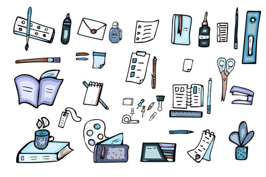 Set of vector doodle stationery. Office supplies.
