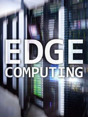 EDGE computing, internet and modern technology concept on modern server room background.