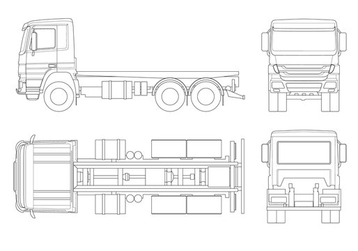 Truck tractor or semi-trailer truck in outline Combination of a tractor unit and one or more semi-trailers to carry freight. Side, front, back, top view.