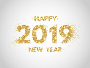Happy New Year 2019 background. Gold glitter numbers 2019 and text on white backdrop. Christmas holiday celebration design. Luxury festive design for greeting card. Vector illustration