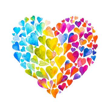dipinto cuore fatto di cuori acquarello