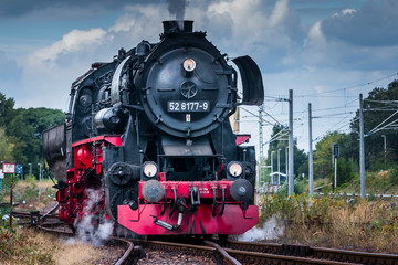 German Steam Locomotive, Clouds, Sky