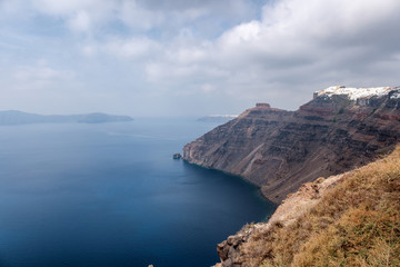Seascape on the island of Santorini, Greece