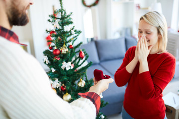 Young man making proposal to his girlfriend on Christmas eve by decorated firtree