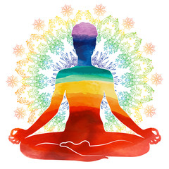 Yoga rainbow watercolor Silhouette
