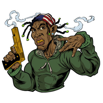 illustration of gangster with a gold gun