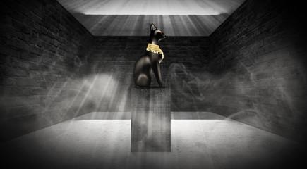 Egyptian asbstract background, goddess of Egypt Bastet, dark pyramid room, old brick walls, smoke, sunlight. 3D rendering