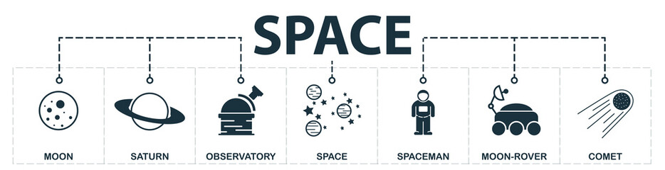 Space set icons collection. Includes simple elements such as Moon, Saturn, Observatory, Stars, Spacemen, Moon-Rover and Ufo premium icons