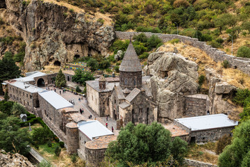 The monastic complex of Geghard, Kotayk region, Armenia. Top view.
