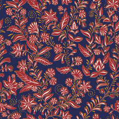 Foto op Aluminium Botanisch Colorful seamless pattern. Hand drawn floral ornament. Colorful decorative wallpaper. Illustration for textile, fabric, cover, print, invitation, wrapping paper