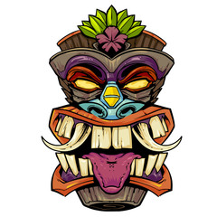 tiki mask head with tongue