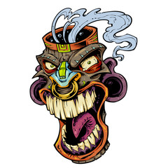 smoking tiki tribal mask head