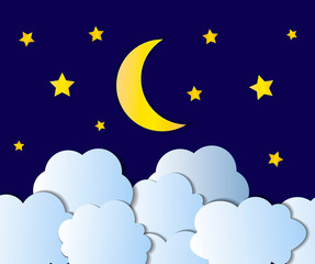 Vector Night Sky, Cartoon Illustration, Background, Bright Yellow Moon, Stars and White Clouds Shining on Blue.