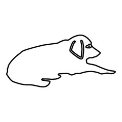 Dog lie on street Pet lying on ground Relaxed doggy icon black color illustration  outline
