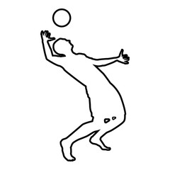 Volleyball player hits the ball with top silhouette side view Attack ball icon black color illustration  outline