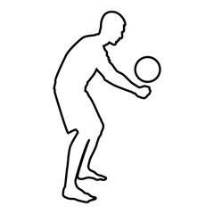 Volleyball player hits the ball with bottom silhouette side view Attack ball icon black color illustration  outline
