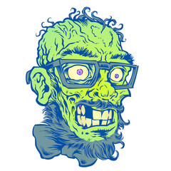 hipster Zombie Head with glasses and beard