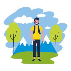 man travel nature mountains landscape