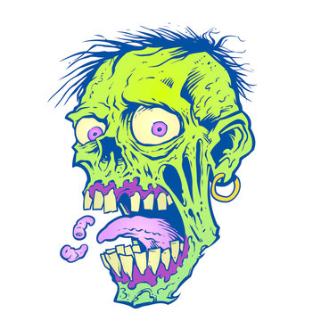 Zombie Head with tongue and maggot