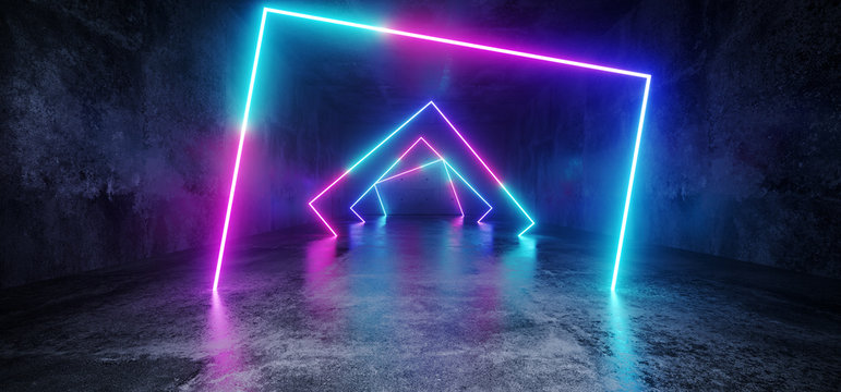 Elegant Modern Futuristic Sci Fi Grunge Concrete Reflective Long Empty Tunnel Corridor With Neon Glowing Rectangle Shapes Purple Blue Pink Red Background 3D Rendering