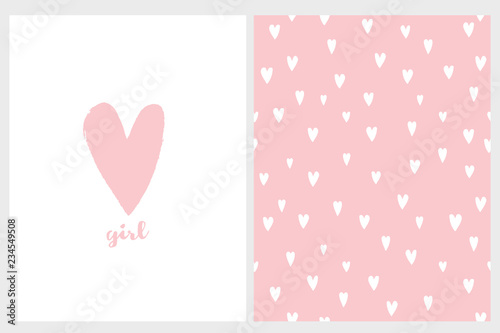 Cute Simple Baby Shower Vector Card And Pattern Pink Hand