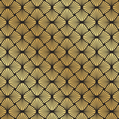 Seamless Art Deco black and gold leaf fan pattern background