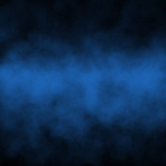 Blue fog and mist effect on black stage studio showcase room background.
